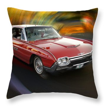 Early 60s Red Thunderbird Throw Pillow