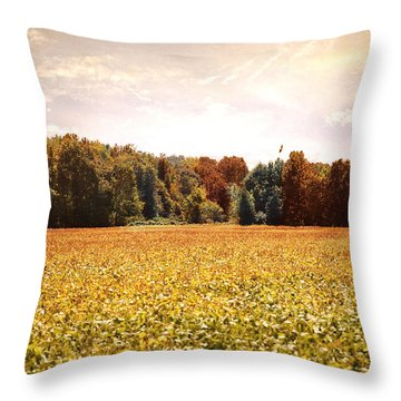 Early Autumn Harvest Landscape Throw Pillow by Jai Johnson