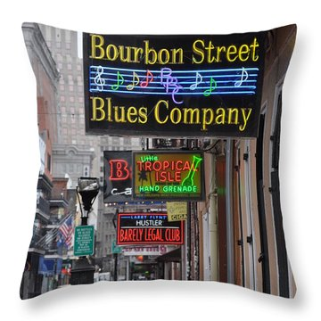Early Morning Bourbon Street Throw Pillow by Bill Cannon
