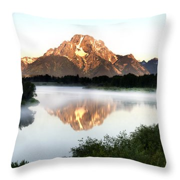 Early Morning Fog Oxbow Bend Throw Pillow by Paul Cannon