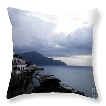 Early Morning View Of Amalfi From Santa Caterina Hotel  Throw Pillow