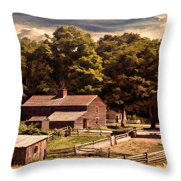 Early Settlers Throw Pillow by Lourry Legarde