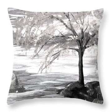 Early Snow Throw Pillow by Gretchen Allen
