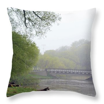 Throw Pillow featuring the photograph Early Spring Morning Fog by Kay Novy