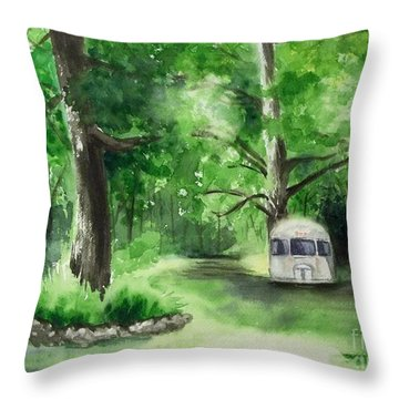 Throw Pillow featuring the painting Early Summer At The Geddes Farm --ann Arbor Michigan by Yoshiko Mishina