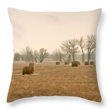 Earlying Morning Hay Bails Throw Pillow by James Steele