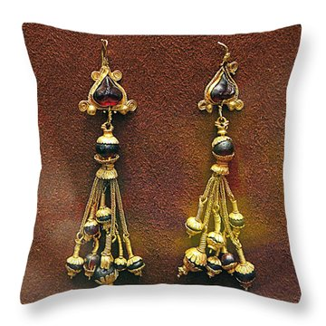 Earrings With Garnets Throw Pillow by Andonis Katanos