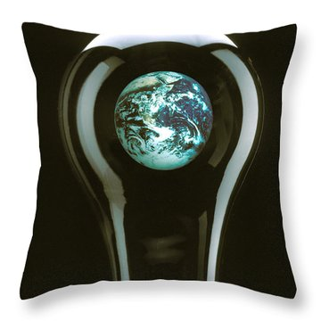 Earth In Light Bulb  Throw Pillow by Garry Gay