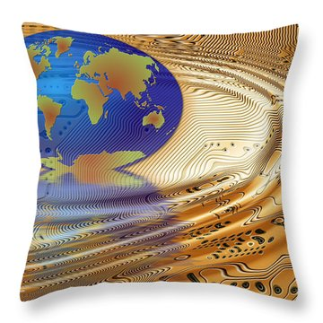 Earth In The Printed Circuit Throw Pillow by Michal Boubin