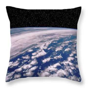 Earth With Starfield Throw Pillow by NASA / Science Source