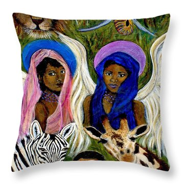 Earthangels Abeni And Adesina From Africa Throw Pillow by The Art With A Heart By Charlotte Phillips