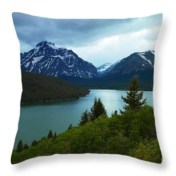 East Glacier Throw Pillow by Jeff Swan