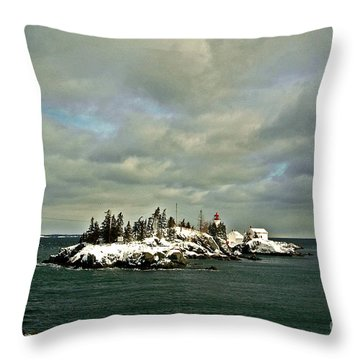 East Quoddy Lighthouse Throw Pillow by Alana Ranney