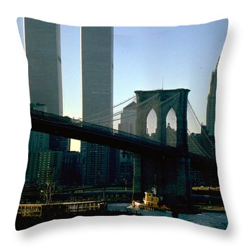 East River Tugboat Throw Pillow by Mark Gilman