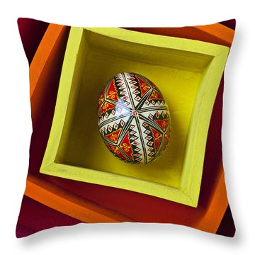Easter Egg In Box Throw Pillow by Garry Gay