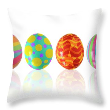 Easter Eggs Throw Pillow by Carlos Caetano