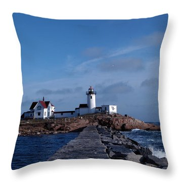 Eastern Point Light Throw Pillow by Mike Martin