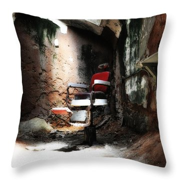 Eastern State Penitentiary - Barber's Chair Throw Pillow by Bill Cannon