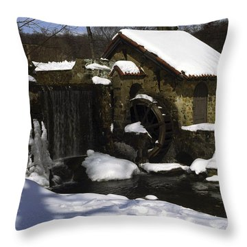 Eastern University Waterwheel Historic Place Throw Pillow by Sally Weigand