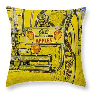 Throw Pillow featuring the digital art Eat Washington Apples by Anne Mott