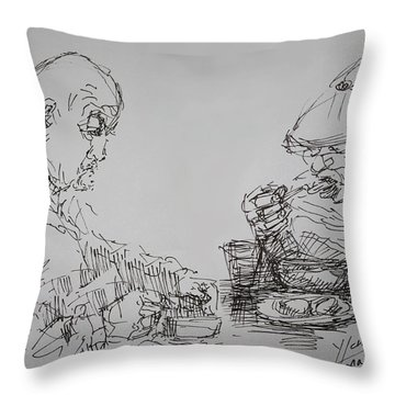 Eaters Throw Pillow by Ylli Haruni