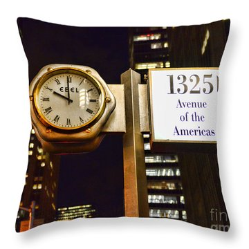 Ebel Street Clock In Nyc Throw Pillow by Paul Ward