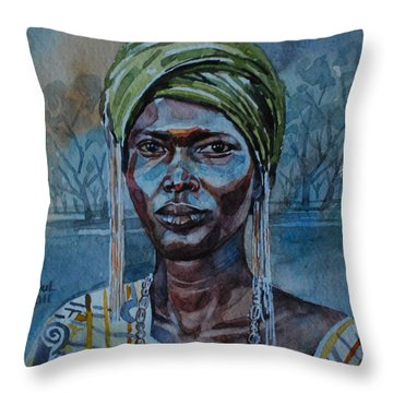 Ebony Girl Throw Pillow by Mohamed Fadul