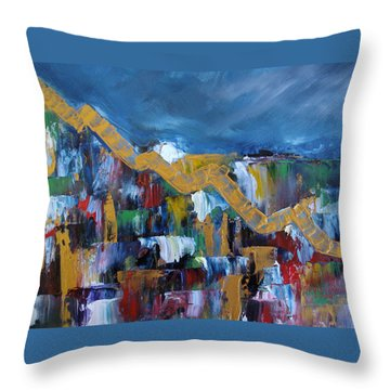 Throw Pillow featuring the painting Economic Meltdown by Judith Rhue