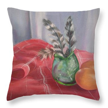 Throw Pillow featuring the painting Eggs Feathers And Glass by Carol Berning