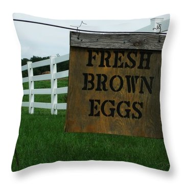 Eggs For Sale Throw Pillow by Anna Villarreal Garbis