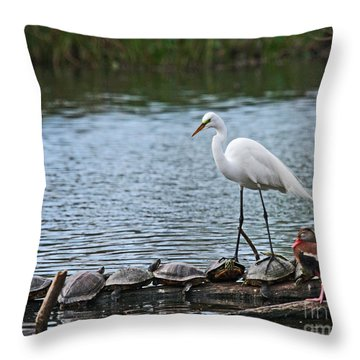Egret Bird - Supporting Friends Throw Pillow
