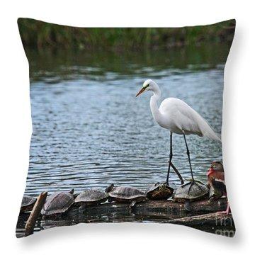 Egret Bird - Supporting Friends Throw Pillow