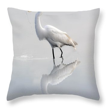 Throw Pillow featuring the photograph Egret Eating Lunch by Dan Friend