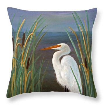 Egret In Cattails Throw Pillow