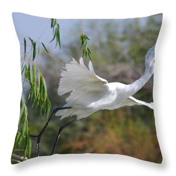 Throw Pillow featuring the photograph Egret's Flight by Tam Ryan