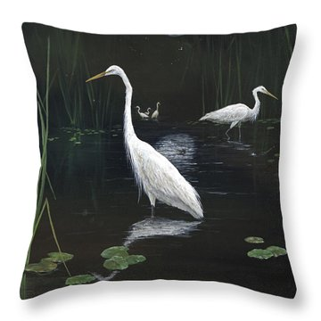 Egrets In The Moonlight Throw Pillow