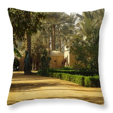 Egyptian Courtyard In The Late Afternoon Throw Pillow by Mary Machare