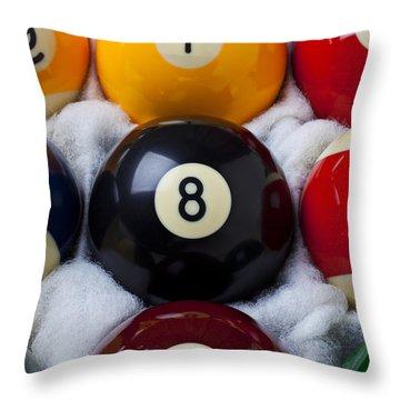 Eight Ball Throw Pillow by Garry Gay