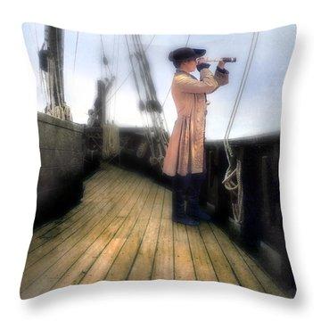 Eighteenth Century Man With Spyglass On Ship Throw Pillow by Jill Battaglia