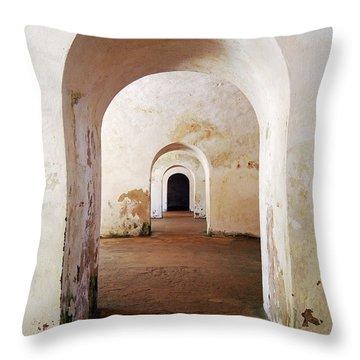 El Morro Fort Barracks Arched Doorways Vertical San Juan Puerto Rico Prints Throw Pillow by Shawn O'Brien