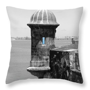 Throw Pillow featuring the photograph El Morro Sentry Tower Color Splash Black And White San Juan Puerto Rico by Shawn O'Brien