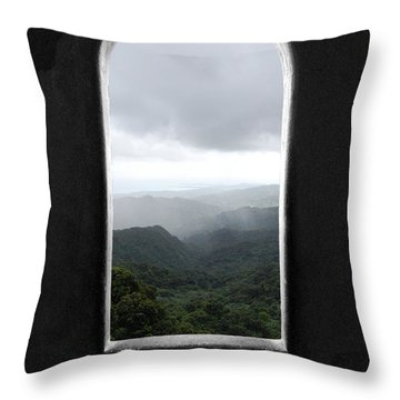 Throw Pillow featuring the photograph El Yunque Cloudburst Color Splash Black And White by Shawn O'Brien
