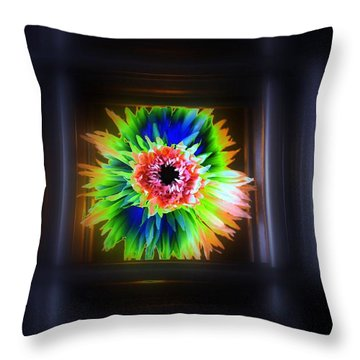 Electric Flower Throw Pillow by Marcia Lee Jones