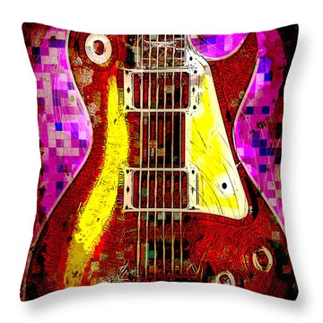 Electric Guitar Abstract Throw Pillow by David G Paul