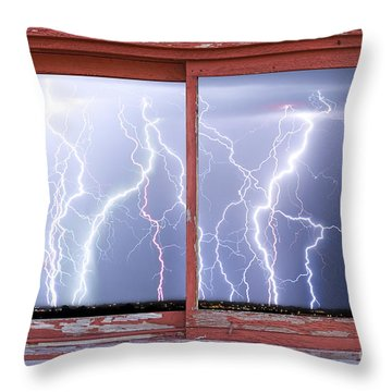 Electric Skies Red Barn Picture Window Frame Photo Art  Throw Pillow by James BO  Insogna
