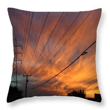 Electric Sunset Throw Pillow by Nina Fosdick