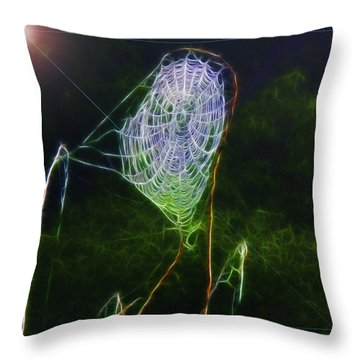 Throw Pillow featuring the photograph Electric Web In The Fog by EricaMaxine  Price