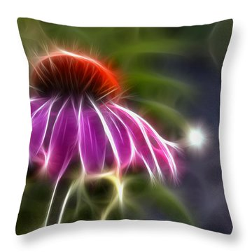 Electrified Coneflower Throw Pillow by Lynne Jenkins