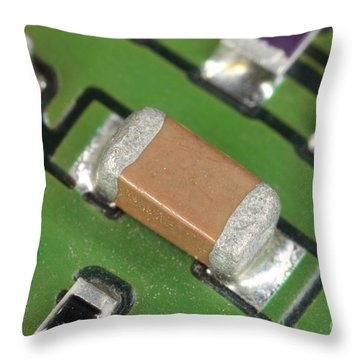 Electronics Board With Lead Solder Throw Pillow by Ted Kinsman
