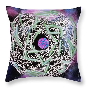 Electrons Orbiting Atom Throw Pillow by Omikron